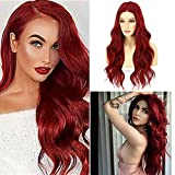 ANANASWEET Red Synthetic Lace Front Wigs Free Part Long Red Wavy Synthetic Wigs for Women Glueless 13x2.5 Lace Front Wig for Party Heat Resistant 22 Inches 150% Density