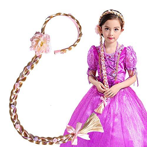 Girl's Princess Wig Braided,Kid's Rapunzel Hair Dress up Hairpiece