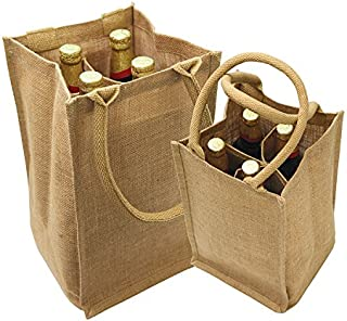 Jute Burlap 4 Bottle Wine Tote with cotton webbed with divider size 8