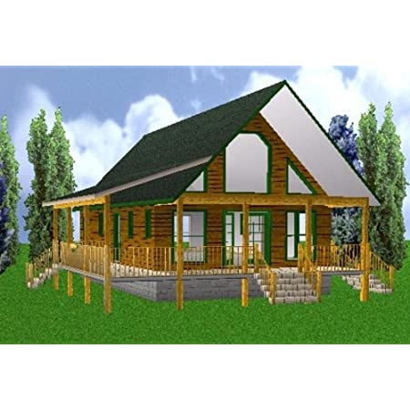 Amazon Com Easy Cabin Designs 24x40 Country Classic 3 Bedroom 2 Bath Plans Package Blueprints Material List Home Kitchen