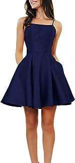 Women's Spaghetti Strap Short Satin Homecoming Dress...