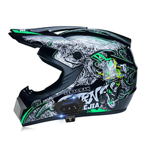 Casco De Motocross Hombre Mujer Montaña Bicicleta Casco 3 Piezas,ECE Homologado - Casco de Moto Cross Integral Enduro para Mujer Hombre Adultos 14,M=(57~58CM)
