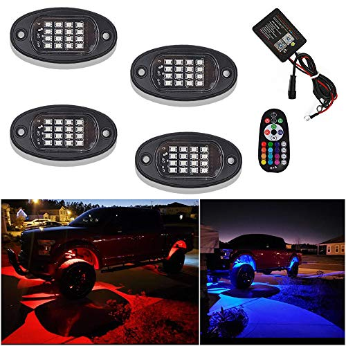 4 Pods RGB 16Led Rock Lights With Bluetooth & RF Control,15 DIY modes,Timing Function-4 Pods Multicolor Neon Lights Kits For Off Road, Truck,SUV,ATV,Golf car, Motorcycle