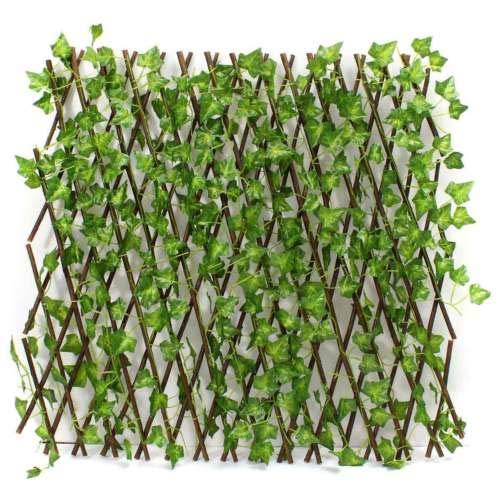 グリーンフェンス グリーンカーテン 幅60〜285cm 伸縮自在 リーフラティス ベランダ 柵 立体 蔦アイビー ジャバラタイプ
