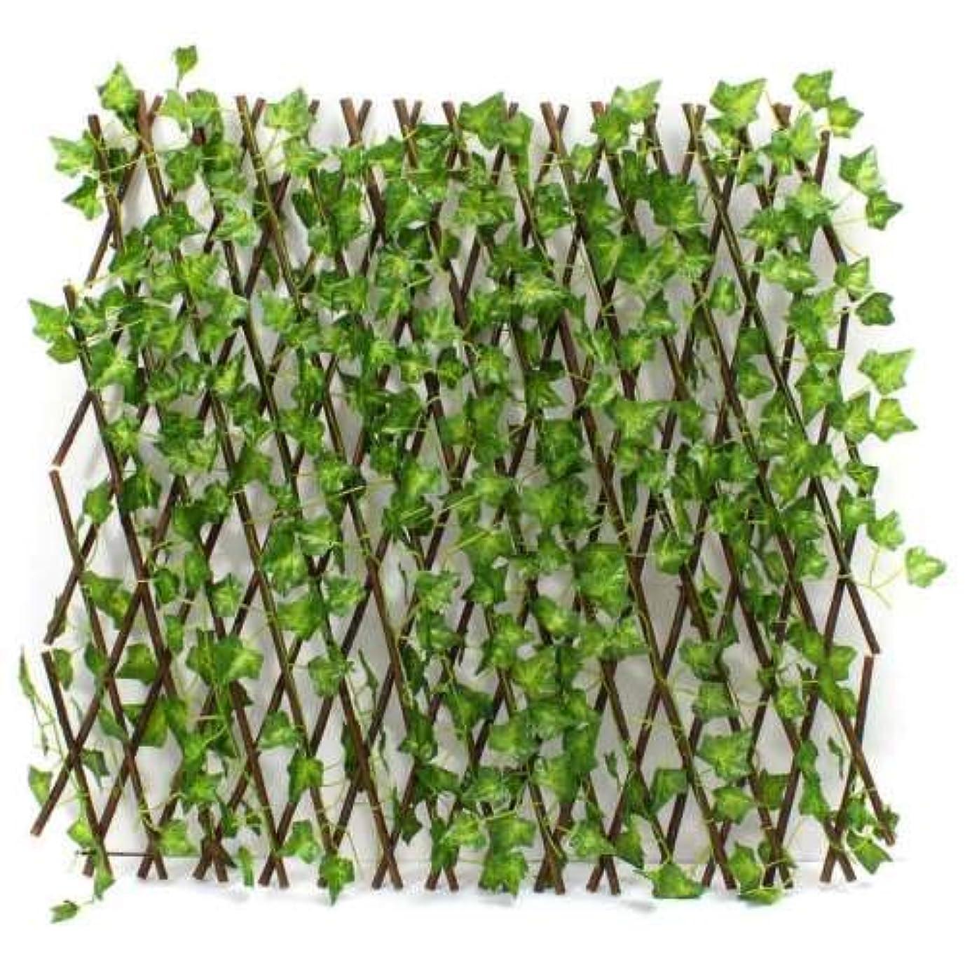 ラメ満たす健康的グリーンフェンス グリーンカーテン 幅60~285cm 伸縮自在 リーフラティス ベランダ 柵 立体 蔦アイビー ジャバラタイプ