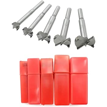 Meichoon Forstner Drill Bits 15-35mm 5 Pcs, Carbide Forstner Bits High Speed Steel Flat Wing Drilling Hole Hinge Cemented Carbide Drilling Sets with Round Shank Counterbore