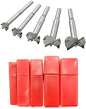 Meich Forstner Drill Bits 15-35mm 5 Pcs Set, Carbide Forstner Bits High Speed Steel Flat Wing Drilling Hole Hinge Cemented Carbide Drilling Sets with Round Shank Counterbore DC02B