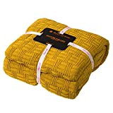 MYLUNE HOME 100prozent Baumwolle Decke Strickdecke Tagesdecke kuscheldecken für Die Ganze Saison, Baumwoll -Thermodecke, 70'' x 78''(180 x 200cm, Senfgelb)