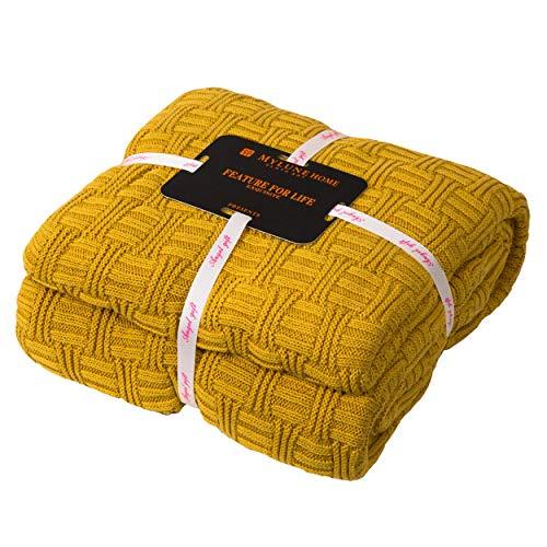 MYLUNE HOME 100% Baumwolle Stilvolle Strickdecke für Fernsehen oder Nap auf dem Stuhl, Sofa und Bet (180x200cm, Ingwer)