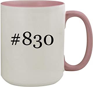 #830-15oz Hashtag Colored Inner & Handle Ceramic Coffee Mug, Pink