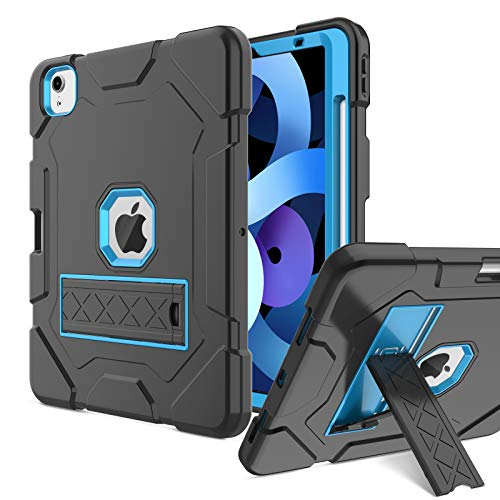 iPad Air 4th Generation Case, Yunerz iPad Air 4 Case with Built-in Pencil Holder, Shockproof Rugged Drop Protection Cover with Kickstandfor iPad Air 4 Generation 10.9 inch