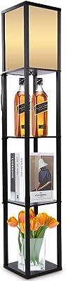 Lampadaire en tissu en bois de chêne, Lampadaire à Cadre en Bois, avec étagères intégrées, Lampadaire étagère Lampe étagère, lampadaire pour Lecture d'étude de Salon 220V (noir)
