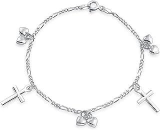 Christian Religious Multi Dangling Cross Hearts Charm Bracelet For Teen For Women 925 Sterling Silver