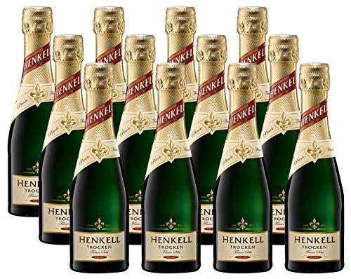 Henkell Feiner Sekt, Trocken, 11,50% Alkohol (12 x 0,2l Flaschen) – Chardonnay-Cuvée in handlicher Piccoloflasche
