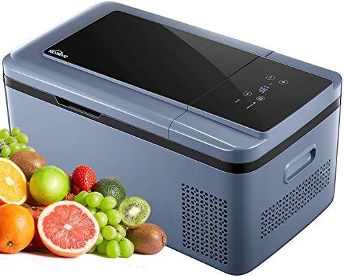 Portable Refrigerator 19 Quart 12 Volt Fridge Freezer with LCD Display for Car, Vehicle, Truck, RV, Boat, Mini fridge freezer for Driving, Travel, Fishing, Outdoor -12/24V DC (black)