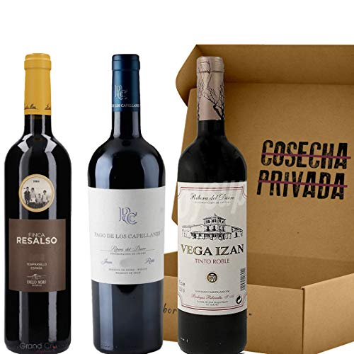 Lote 1.02 - Los mejores Vinos Robles - Envío Gratis 24 H - Ribera del Duero - Seleccionado por Cosecha Privada - 3 Botellas - Finca Resalso, Pago de de los Capellanes, Vega Izán