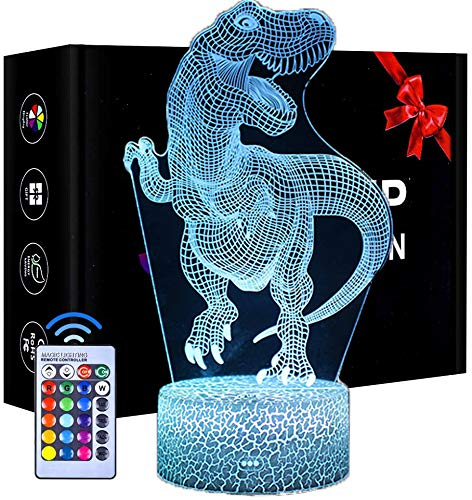 Dinosaur 3D Illusion Lamp, 3D Night Light for Kids with 16 Colors Changing, Decor Lamp with Remote Control, Birthday Gifts for Girls Boys Age 2 3 4 5 6 Years Old (T Rex)