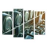 Bild auf Leinwand Krafttrainingsgeräte Sporthanteln auf dem Gestell Bilder Wandbild Poster...