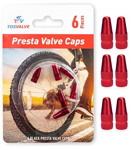 Presta Valve Caps - Tire Valve Stem Caps 6pcs - Anodized Presta Valve Caps - Dust Caps Tire - Bike Presta Valve Cap Black Aluminum Color - Bicycle Presta Valve Cover - Air Caps Tires (Red)
