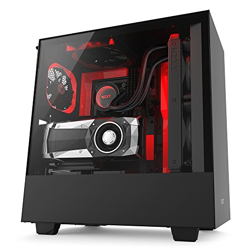 NZXT H500i - Compact ATX Mid-Tower PC Gaming Case - RGB Lighting and Fan Control - CAM-Powered Smart Device - Enhanced Cable Management System - Water-Cooling Ready - Black/Red - 2018 Model