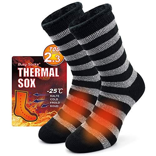 Mens Warm Socks for Winter, Busy Socks Outdoor Heavy Working Thermal Crew Hiking Hunting Backpacking Socks 1 Pair Dark Grey Stripe