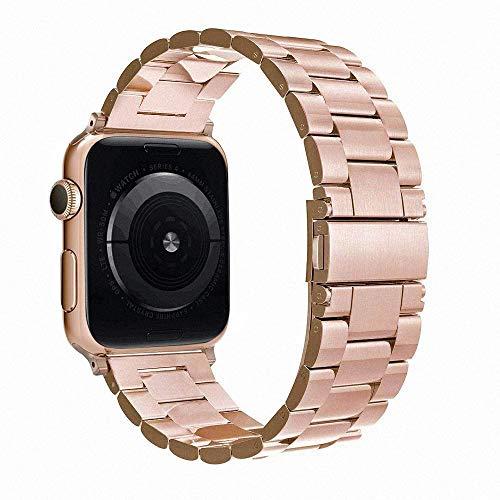 Simpeak Cinturino Compatibile per Apple Watch 42mm 44mm in Acciaio Inossidabile con chiusura, Fibbia Compatibile con iWatch 42mm di Series 1/2/3/4/5 Versione 2015 2016 2017 2018, Ora