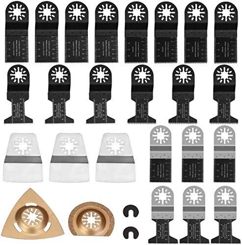 SPTA 27Pc Multi herramientas Oscilantes Juego de Hoja Oscilante Sierra, Accesorio Multiherramienta Herramientas Oscilantes de liberación rápida Conjunto de hoja de sierra universal para madera y metal