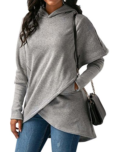WLLW Women Asymmetric Hem Hooded Wrap Hoodie Sweatshirt Tops Blouse with Pockets Grey