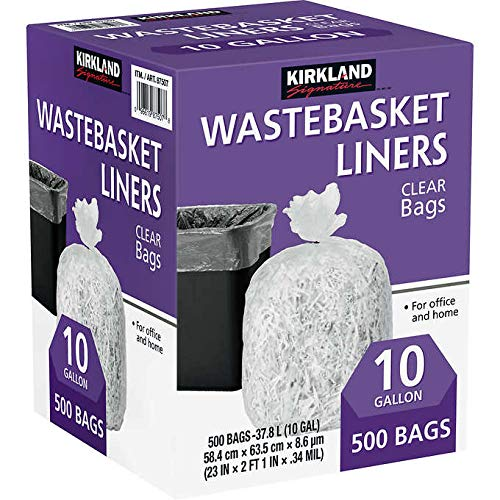 Kirkland Signature Wastebasket Liner for Office/Home - Clear: 10 Gallon (500 ct.)