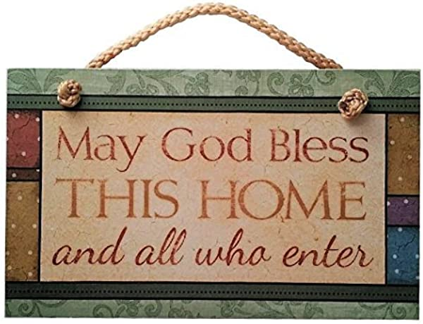 AMELIA SHARPE New Hanging Sign Gift May God Bless This Home Sign Inspirational Plaque Wall Decor 12 X 8ative Wood Sign Plaque For House Decor 12 X 8