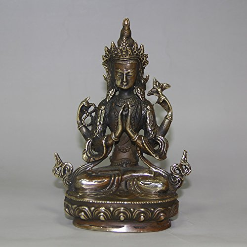 YUNHAO Bodhisattva Avalokiteshvara Seltene, alte tibetische Bronzestatue (Buddha Tibet)