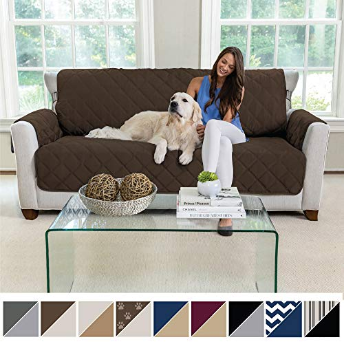 MIGHTY MONKEY Premium Reversible Large Sofa Protector for Seat Width up to 70 Inch, Furniture Slipcover, 2 Inch Strap, Couch Slip Cover Throw for Pets, Dogs, Kids, Cats, Sofa, Chocolate Taupe