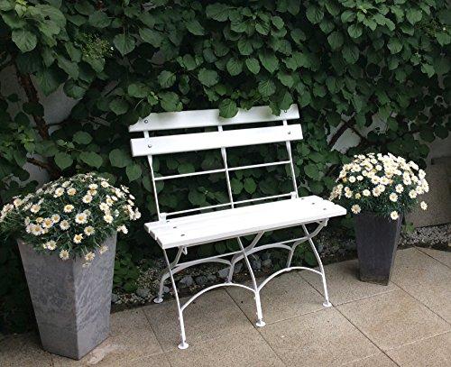 Massive wetterfeste Gartenbank klappbar in weiß - 3