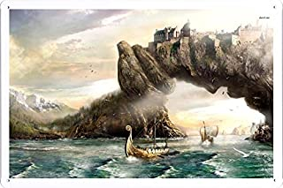 Abstract Sign - #17968 Viking Ship And The Kingdom On The Arch Metal Tin Poster