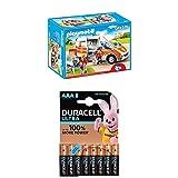 Playmobil Lot 6685 - Ambulance avec gyrophare et sirène + Duracell Ultra Power Piles Alcalines Type AAA, 8 Piles
