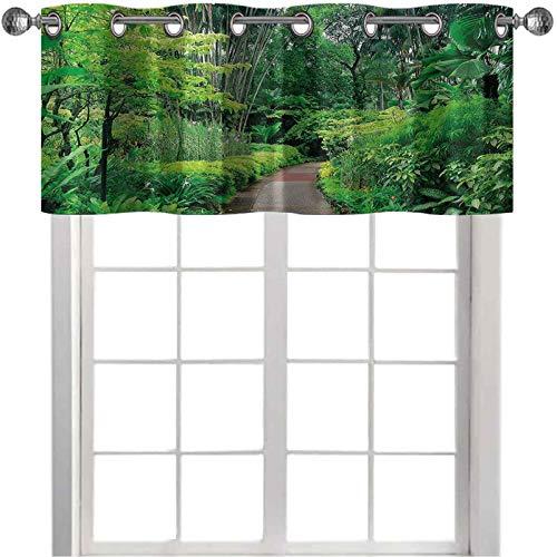 Cenefa para oscurecer la habitación, plantas verdes, árbol