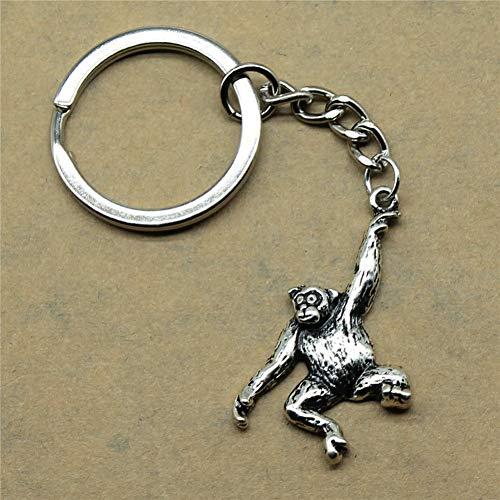 TAOZIAA Accessoires Schlüsselanhänger Monkey Return Geschenke für Kindergeburtstag 32x27mm Anhänger Antik Silber