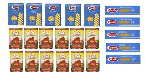 Testpaket Barilla italienisch Pasta ( 10 x 500g ) Fusilli - Spaghetti + Zia Rosa DOP Pomodoro San Marzano Tomate aus Kampanien Dose von 400g 12x 400g