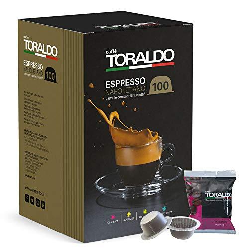 Caffè Toraldo Scatola Capsule Compatible Bialetti Classica Napoletano Caffè Espresso - 100 Pezzi