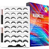 Magnetic Eyelashes and Magnetic Eyeliner Kit,16 Pairs of Reusable 3D 5D 6D Magnetic Eyelashes with 2 Special Magnetic Eyeliners and Tweezers, Easy to Apply with Natural Look