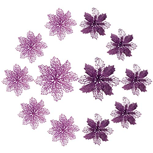 SY CRAFT 12 Pack Christmas Glitter Poinsettia Flowers 2 Styles of Artificial Flower for Christmas Tree Decoration 5.5-inch Purple