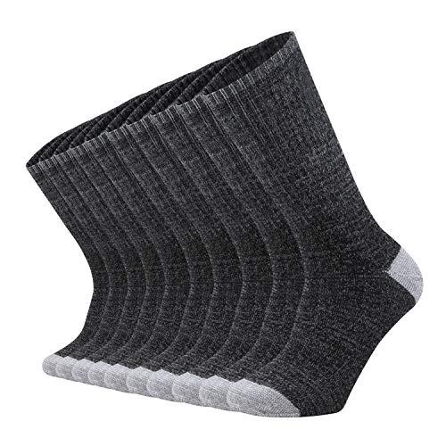 ONKE Cotton Moisture Wicking Athletic Work Cushion Crew Socks Men 10 Pack(BlackGrey L)