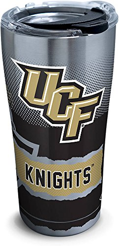Tervis 1269206 UCF Knights Knockout Stainless Steel Tumbler with Clear and Black Hammer Lid 20oz, Silver