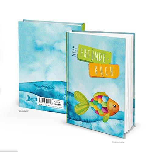 Freundebuch maritim Freundschaftsbuch BUNTER FISCH blau türkis DIN A5 HARDCOVER Geschenk-BUCH Freunde Kommunion Geburtstag Schulanfang Regenbogen-Fisch