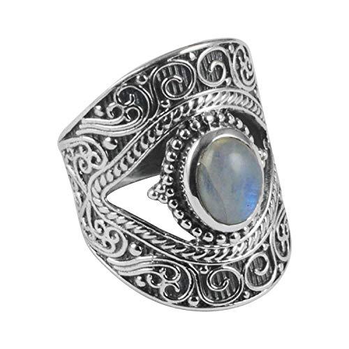 Silver Palace Anillo de plata de ley 925 con forma de ojo y flor grabada para regalo de boda unisex
