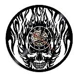 Socket insert night light 1 pieza reloj de pared de fuego negro cráneo horror reloj de vinilo LP record reloj de decoración de cabeza muerta iluminación LED lámpara de mesilla de noche cromada