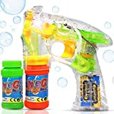 Haktoys Transparent Bubble Shooter Gun | Ready to Play Light Up Blower with LED Flashing Lights, Extra Refill Bottle, Bubble Blaster Toy for Toddlers, Kids, Parties (Sound-Free, Batteries Included)