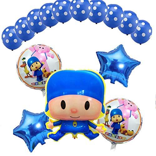 WZRQQ 15 Piezas/Juego de Globos Pocoyó Mezclado Globo de Papel de Aluminio de 18 Pulgadas Estrella Suministros para el día de los niños Baby Shower Fiesta de cumpleaños Decoración Juguetes