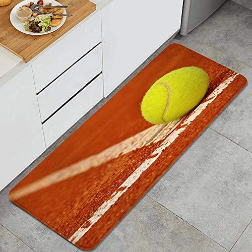 GEEVOSUN Pelota de Tenis en una cancha de Arcilla de Tenis Alfombrillas de Cocina Antideslizantes Felpudo Lavable Juego de Alfombras de Microfibra