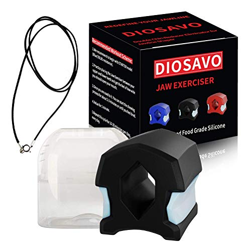 DIOSAVO Upgraded Jaw Exerciser - Smaller Size For Better Fit - Double Chin Reducer Eliminator - Define Your Jaw Line (Black - TopLevel)